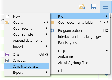 Saving a part of a tree in a separate file