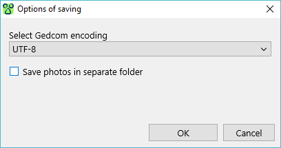 Gedcom export settings window