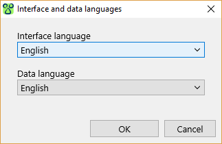 Choice of interface and data languages