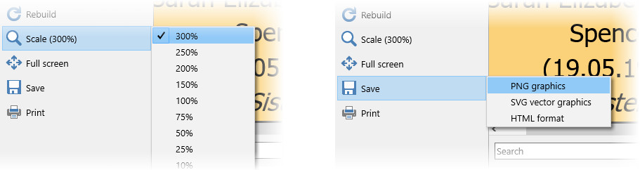 Setting scale for printing and saving png