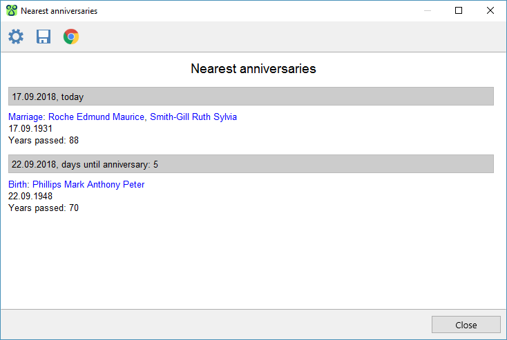 Nearest anniversaries report